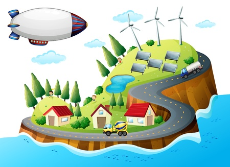 Illustration of a village with windmills and a spaceship Stock Vector - 17897715