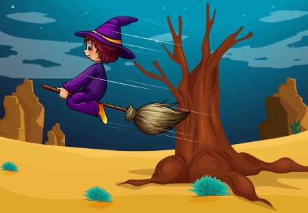 Illustration of a witch riding a broom Stock Vector - 17896914