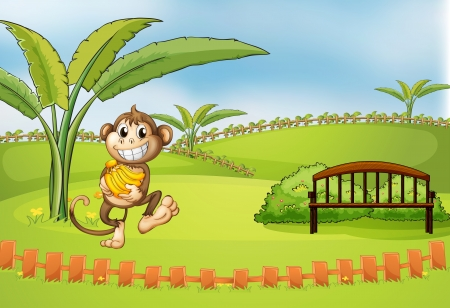 Illustration of a playful monkey  Vector