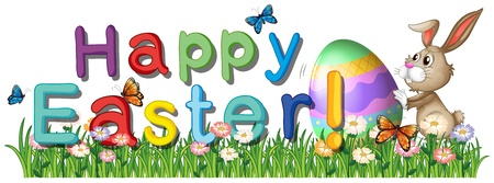 sunday: Illustration of a happy easter greetings in the garden on a white background