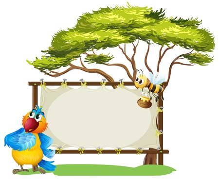 Illustration of a parrot and a bee near an empty signage on a white background Vector