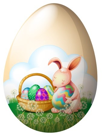 Illustration of an easter bunny with easter eggs on a white background Vector