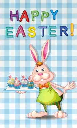 Illustration of an easter greeting with a bunny Vector