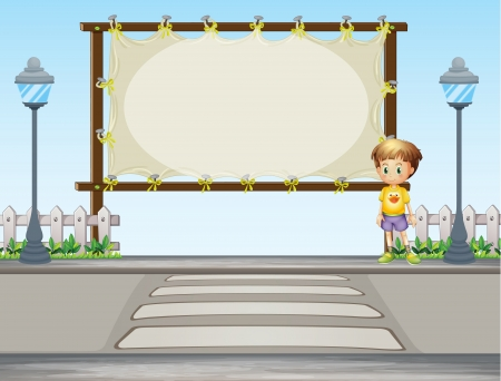 ad space: Illustration of a boy near a blank ad space