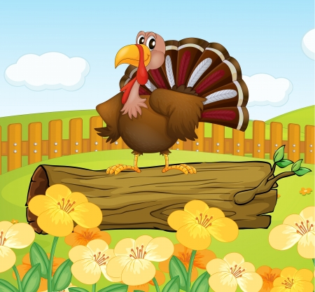 Illustration of a turkey above a trunk inside the fence Vector