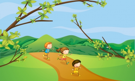 pathways: Illustration of kids playing in the hills Illustration