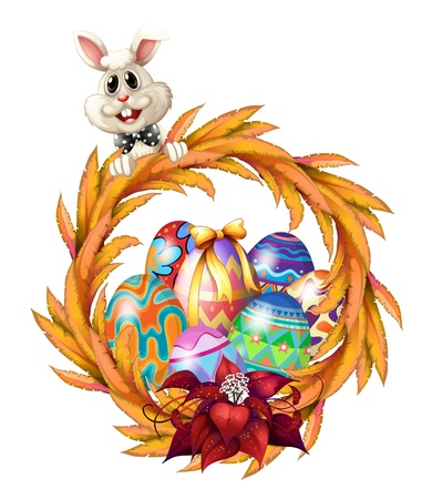 picure: Illustration of an easter design border on a white background