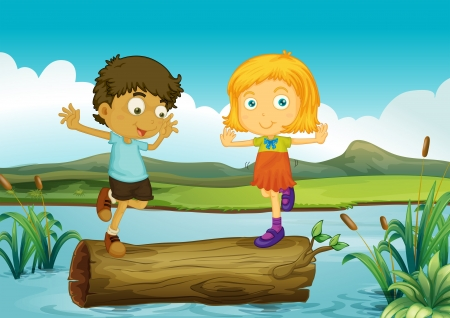 Illustration of a girl and a boy above a trunk floating in the river Vector