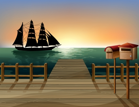 ancient ships: Illustration of a sunset at the port