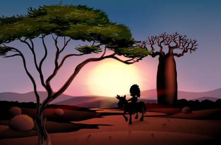 baobab: lllustration of a sunset scenery