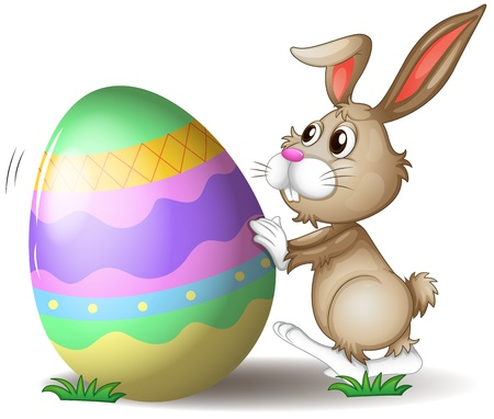 april clipart: Illustration of a bunny pushing an easter egg on a white background Illustration