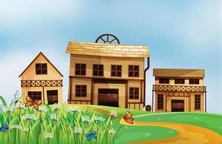 Illustration of houses in the neighborhood Stock Vector - 17897901