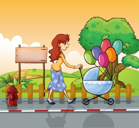 Illustration of a mother strolling with a stroller Vector