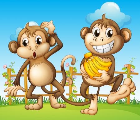 mono caricatura: Ilustración de dos monos con plátano dentro de la cerca