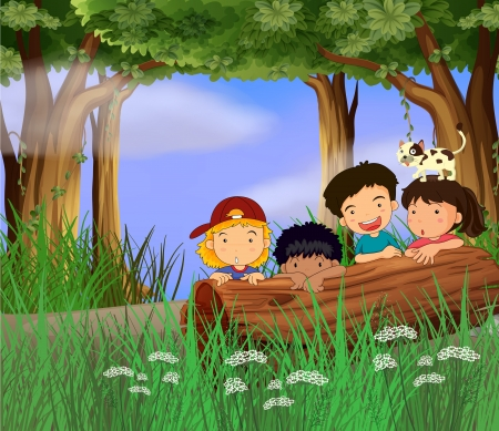 Illustration of four childrens playing in the forest
