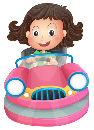Illustration of a young girl riding on a pink bumpcar on a white background Vector