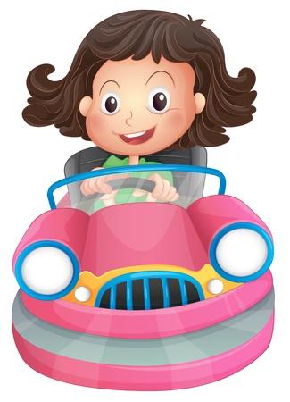 Ilustración de una chica joven montado en un bumpcar rosa sobre un fondo blanco Ilustración de vector