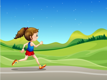 sideview: Illustration of a girl running in the street near the hills