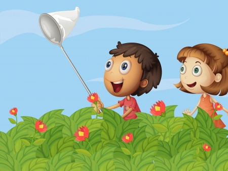 Illustration of butterfly catchers in the garden Vector