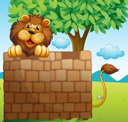 lion tail: Illustration of a lion inside a pile of bricks