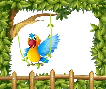 nostril: Illustration of a parrot swinging the vine plant