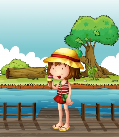 Illustration of a girl eating an ice cream at the bridge Vector