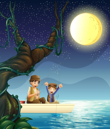 Illustration of a father and child fishing Vector