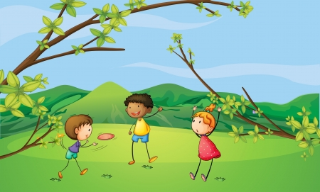 Illustration of two young boys and a young girl playing Vector