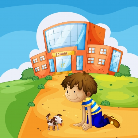 Illustration of a little boy and his pet near the school Vector