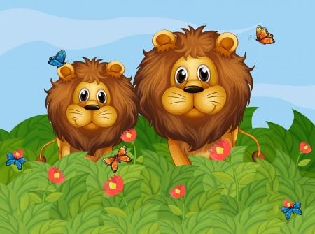 Ilustración de un grande y un cachorro de león en el jardín