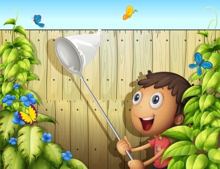 Illustration of a butterfly catcher inside a yard with fence Vector