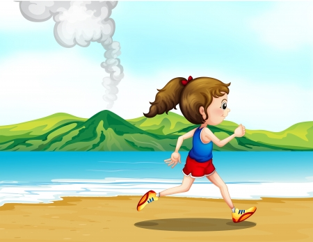 Illustration of a girl jogging at the seashore Vector