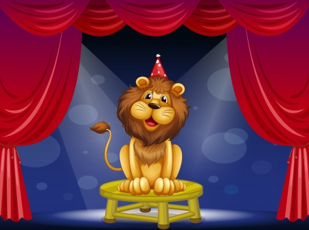 limelight: Illustration of a lion sitting above a round table