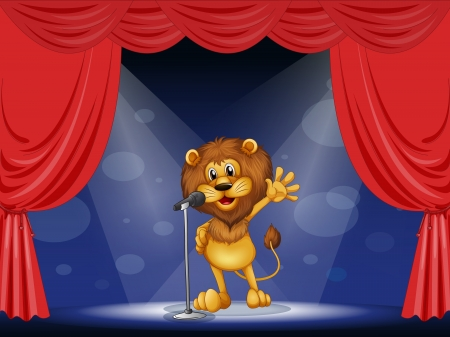 limelight: Illustration of a lion singing at the center of the stage