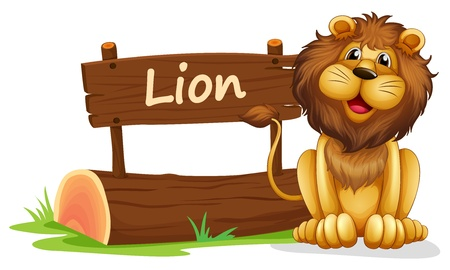 wooden signboard: Illustration of a lion near a wooden signage on a white background Illustration