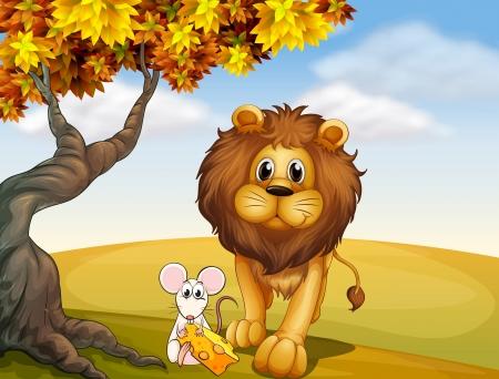 lion drawing: Illustrazione di un leone e un topo Vettoriali