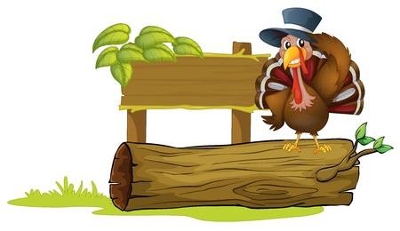 Illustration of a turkey above a trunk beside an empty signboard Vector