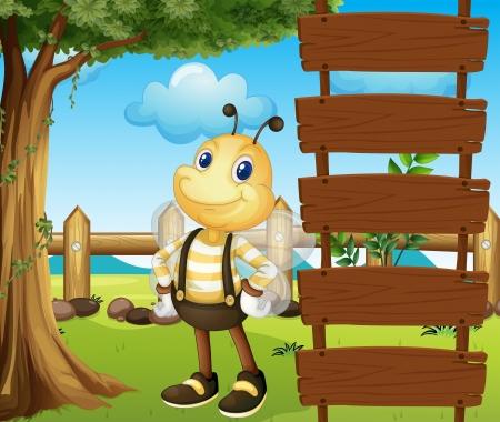 ladder  fence: Illustration of a honeybee beside a blank template Illustration
