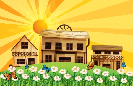 rooftop: Illustration of the sunset and the houses with different designs Illustration