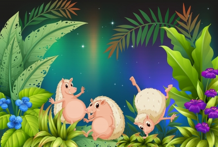 Illustration of three wild animals playing in the garden Stock Vector - 17821708