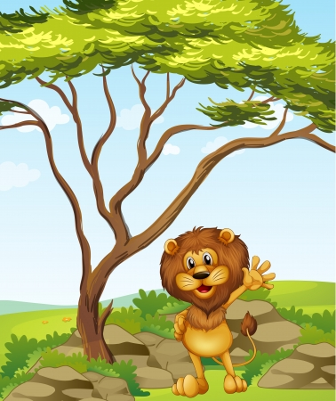 Illustration of a lion standing beside a big tree Stock Vector - 17821562