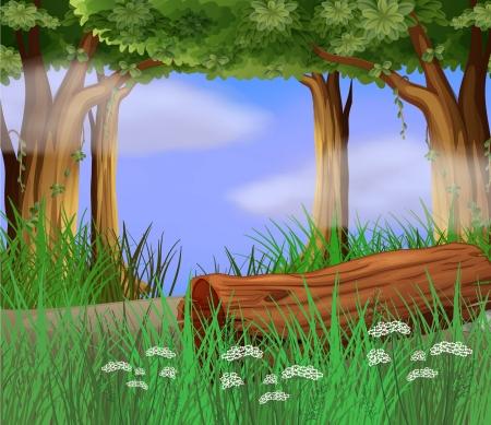 Illustration of long weeds at the roadside