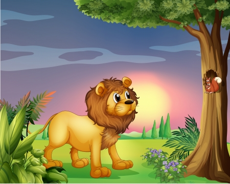 Illustration of a lion watching a squirrel Vector