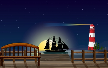 ship sky: Illustration of a beautiful scenery at the port  Illustration