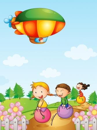 Illustratie van drie kinderen spelen onder een luchtschip