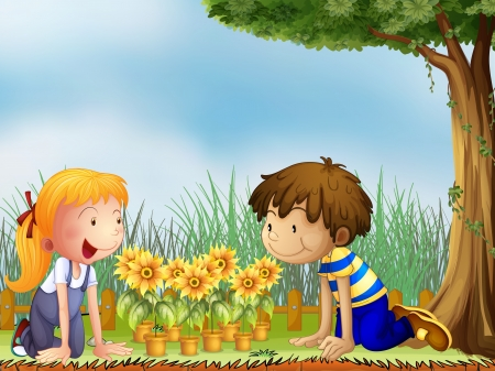little boy and girl: Illustration of kids watching the pots of sunflower