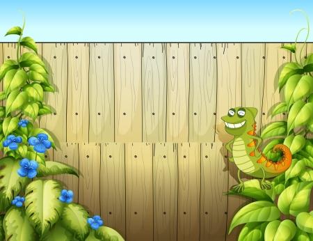 creeper: Illustration of a lizard near the fence