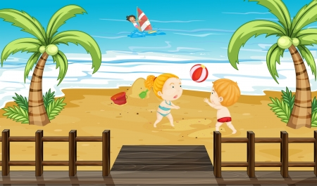 Illustration of kids at the beach Vector