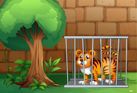 Illustration of a tiger inside a steel cage Stock Vector - 17821632