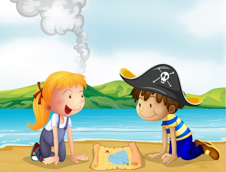 pirate girl: Illustration of a girl and a boy studying the map